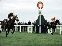 Red Rum just defeats Crisp in the 1973 Grand National