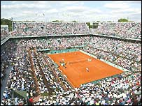 A view of the Phillipe Chatrier court at Roland Garros
