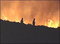 Fire raging on Mynydd Llandegai