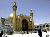 Iraqi Muslims on their way to pay homage at the holy shrine of Imam Ali
