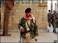 Kurdish soldier leaves Grand Mosque in Kurdish-controlled Dohuk, northern Iraq