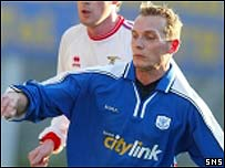 Tommy Lovenkrands in action for St Johnstone