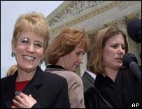 Michigan President Coleman, plaintiffs Barbara Gutter and Jennifer Gratz