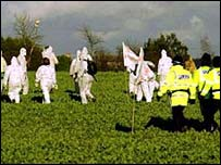 protestors in a Dorset field