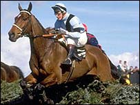 West Tip clears a fence in the 1989 Grand National