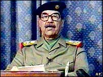 Saddam's first appearance on TV after conflict began