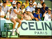 John McEnroe in a sit-down protest