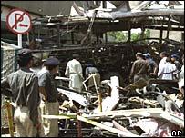 Debris after the suicide bomb attack in Karachi