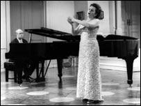Mstislav Rostropovich performing with his wife Galina Vishnevskaya