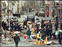 Scene after the Omagh bombing