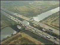 The Thelwall viaduct on the M6 in Cheshire