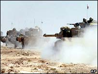 Elements of the 3rd Infantry Division moving north towards Baghdad