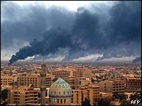 Baghdad under intense coalition bombardment