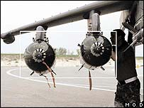 Cluster bombs on an RAF Harrier in an RAF factsheet