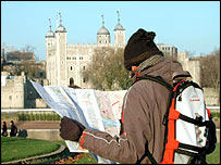 Tourist at the Tower of London