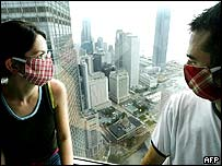 Tourists Mary Campion (L) and Jonathan Bourke from Ireland wear colourful masks to protect against Sars