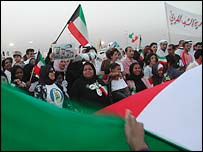 Kuwaitis protesting