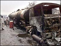 Burnt out tanker in Kano, October 2001