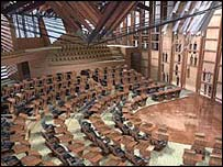The Holyrood chamber under construction