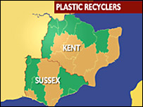 Map showing areas which recycle plastic