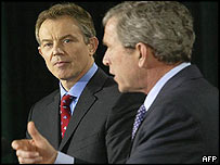 UK Prime Minister Tony Blair and US President George W Bush