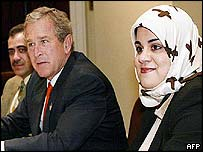Zainab al-Suwaij with President Bush, 4 April 2003