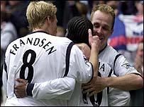 Bolton celebrate Henrik Pedersen's goal