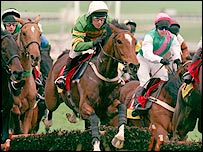 Charlie Swan rides Istabraq to Champion Hurdle victory in 1998