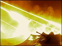 British artillery shows as streaks of light in the sky around Basra