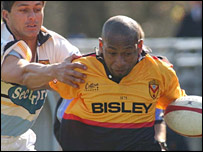 Newport wing Luke Nabaro claimed a hat-trick of tries