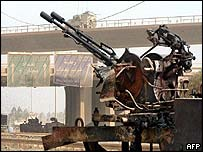 Destroyed Iraqi anti-aircraft gun in Baghdad