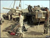 Damaged US Abrams tank
