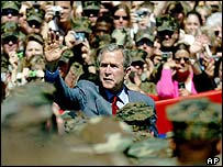 President Bush speaks to marines and their families at Camp Lejeune in the US