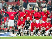 Karl Power (left) and his fake Manchester United team