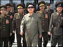 North Korean leader Kim Jong-Il with his military top brass
