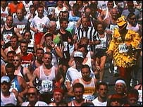 The crowds in the early stages of the London Marathon