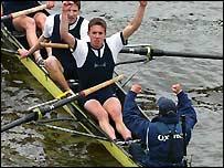 Oxford stroke Matt Smith celebrates