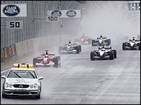The safety car leads the Brazilian Grand Prix field