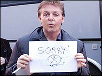 Paul McCartney after cancelling gig
