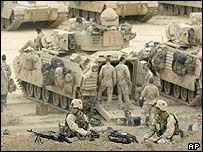 US troops at the Baghdad international airport