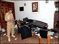 UK troops inside the Basra Ba'ath party office