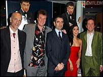 Johnny English cast and crew, from left: John Malkovich, Peter Howitt, Rowan Atkinson, Natalie Imbruglia, Ben Miller