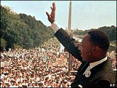 Martin Luther King salutes the crowd after speaking at the Lincoln Memorial, Washington DC, in 1963