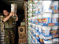Soldier unloading stores in the Gulf