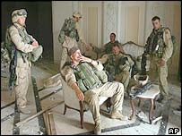 US troops relax inside palace