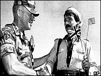 Jay Garner says farewell to a Kurdish guerrilla in 1991