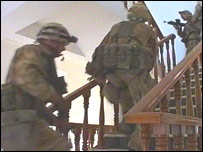 Royal Marines seaching buildings in Basra