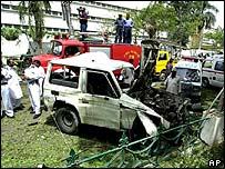 Blast scene outside US Consulate in June 2002