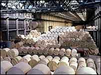 Paper rolls in mill
