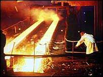 Steel mill interior   BBC